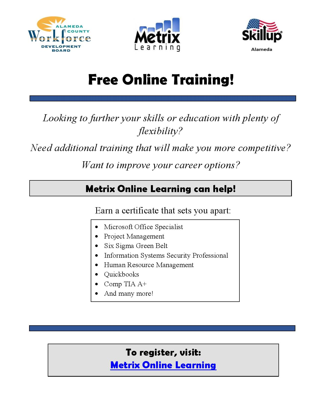 A flyer that promotes Metrix Online Learning, which is a free online training platform to help people gain new skill and occupational certicificates.